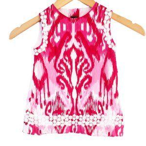 Oscar de la Renta Pink Ikat Daisy-Trim Dress